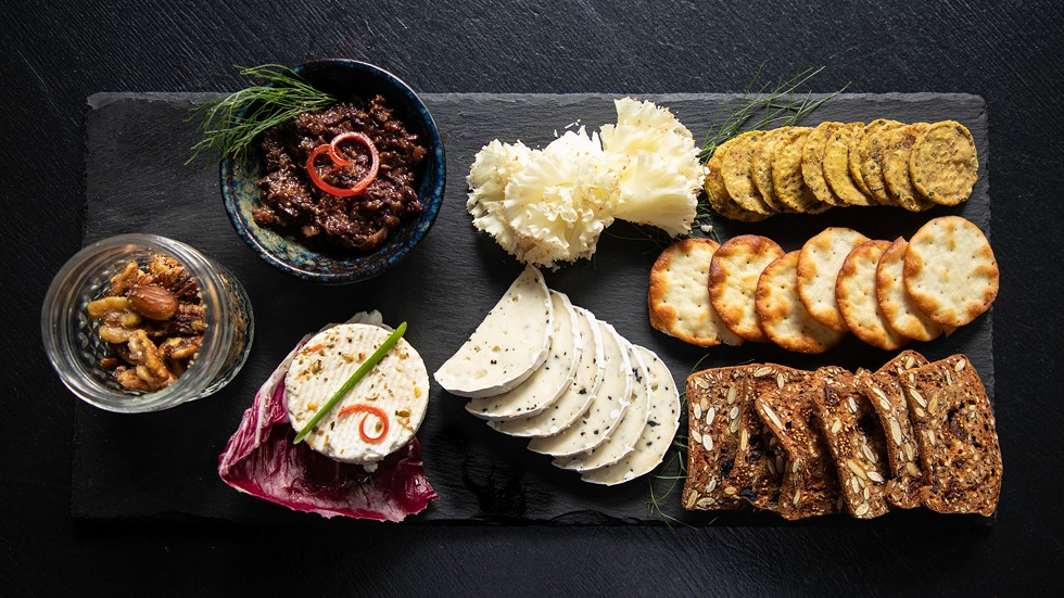 The Fromage platter of cheeses with fig tapenade and spiced nuts. - AMY KUMLER