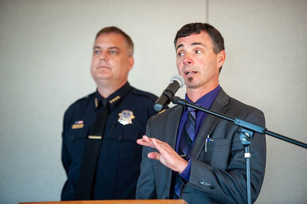 Fortuna Union High School District Superintendent Glen Senestraro spoke to parents about how they were notified of the incident and the short notice between the announcement and the press conference. - MARK MCKENNA