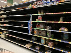 The barren shelves at Eureka's WalMart on the eve of the last blackout. - SUBMITTED