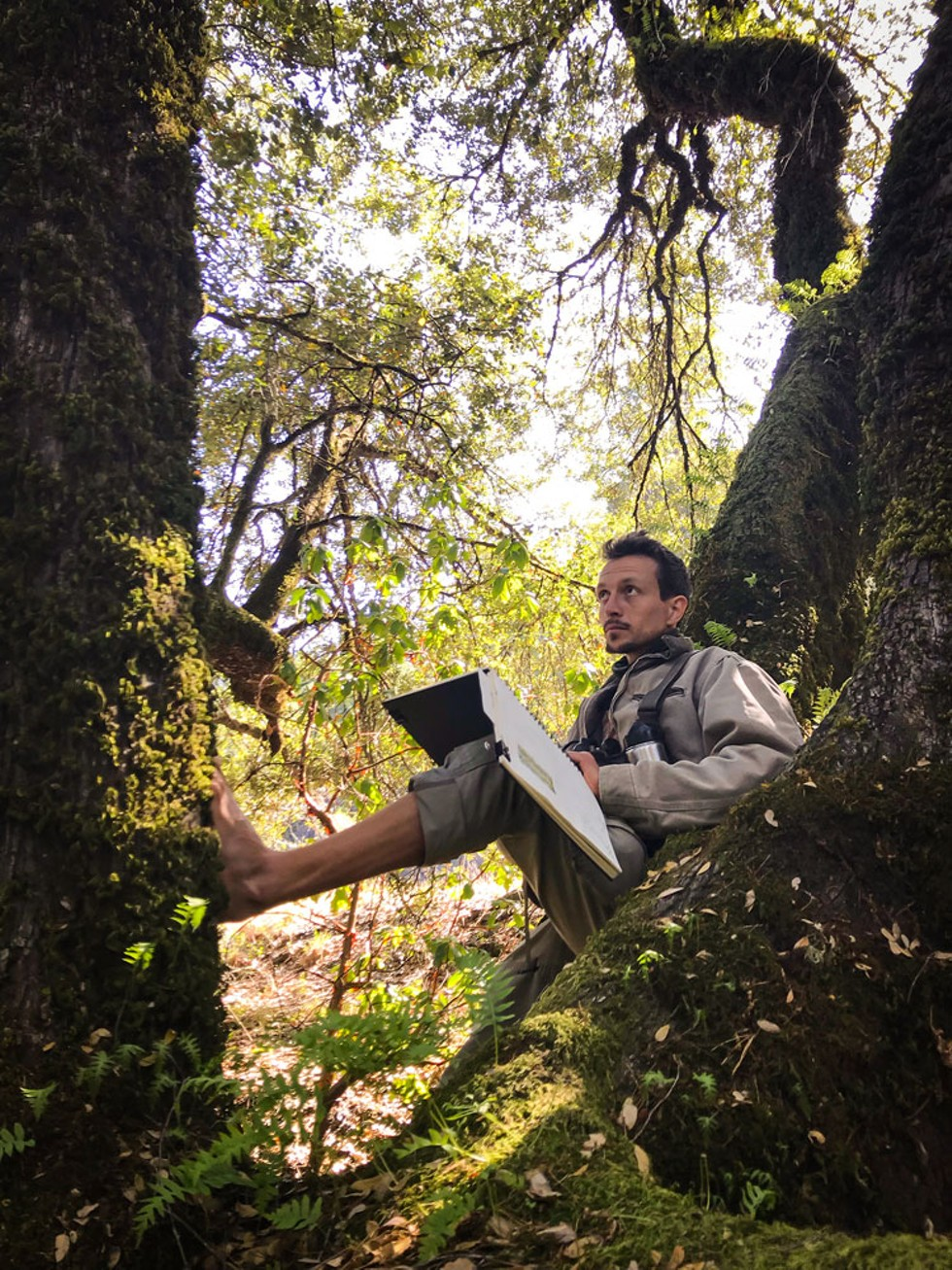 Marley Peifer nature journaling as part of an effort to demystify controlled burns. - PHOTO BY LAURIE WIGHAM.