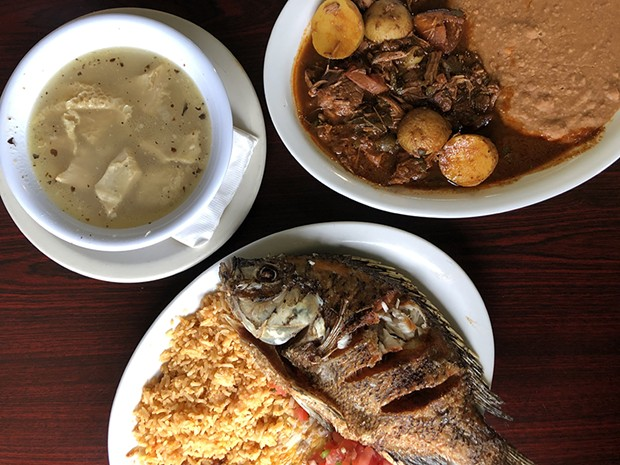 Beef barbacoa, mojarra frita and white menudo at Los Sinaloenses. - PHOTO BY JENNIFER FUMIKO CAHILL