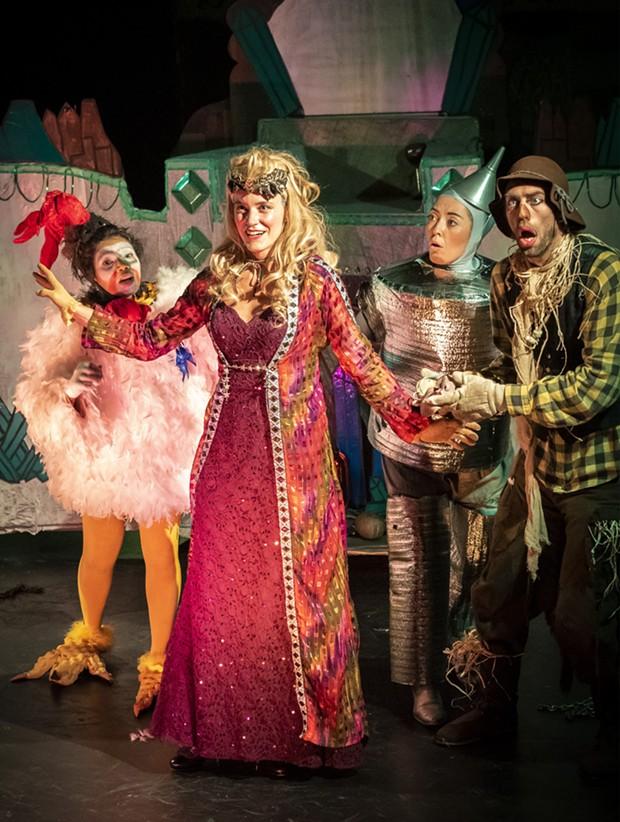Princess Langwidere (Marguerite Boissonnault), Billina the Chicken (H. Veenadari Lakshika Jayakody), the Tin Man (Hannah Shaka) and Scarecrow (Andrew Lupkes) in Return to Oz. - PHOTO BY MARK LARSON