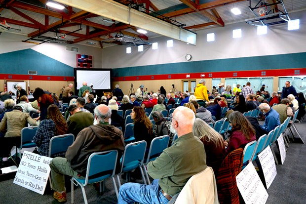 By the afternoon of Dec. 16, the overflow crowd at Eureka's Adorni Center had thinned a bit. - SAM LEISHMAN