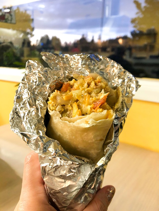 The carnitas machaca burrito. - PHOTO BY JENNIFER FUMIKO CAHILL