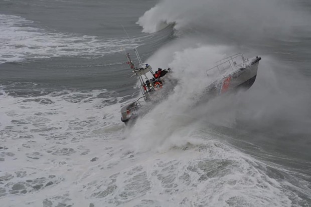 Surf Operations Training off the coast during the storm. - U.S. COAST GUARD
