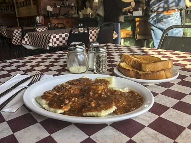 Last call for ravioli and meat sauce at Marcelli's Italian Restaurant. - PHOTO BY JENNIFER FUMIKO CAHILL