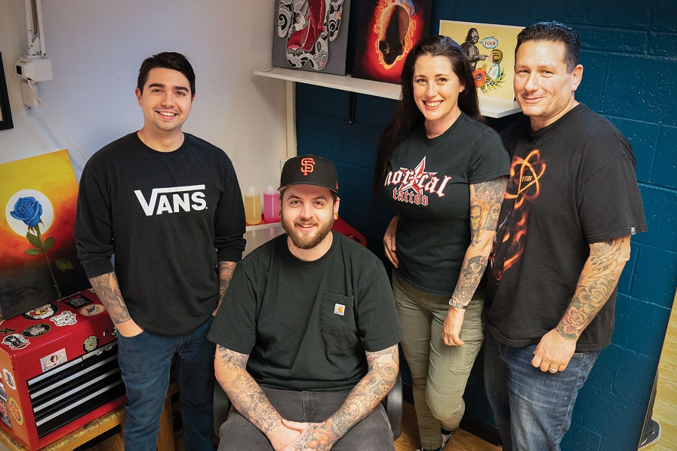 Michael Joy, Jeremy La Flamme and Amy and Ted Marks of Nor Cal Tattoo. - ZACH LATHOURIS
