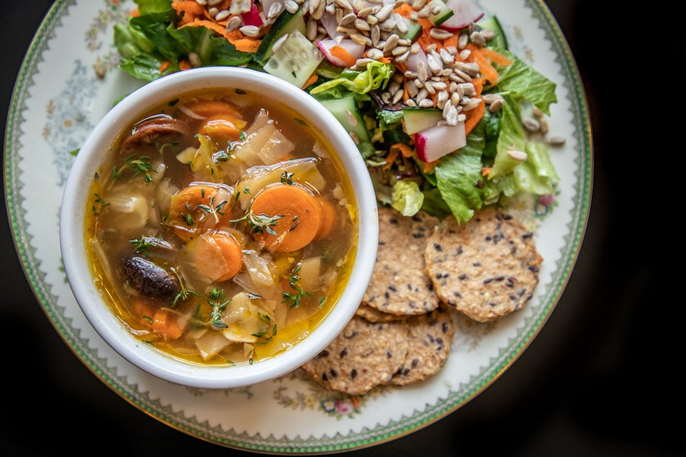 A hearty cabbage and chicken apple sausage soup. - AMY KUMLER