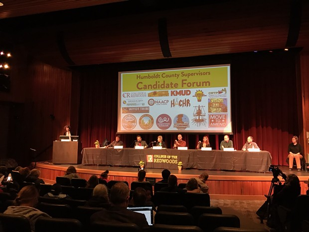 Humboldt County Board of Supervisors District 1 and District 2 candidates prepare for the candidate forum at College of the Redwoods. - IRIDIAN CASAREZ