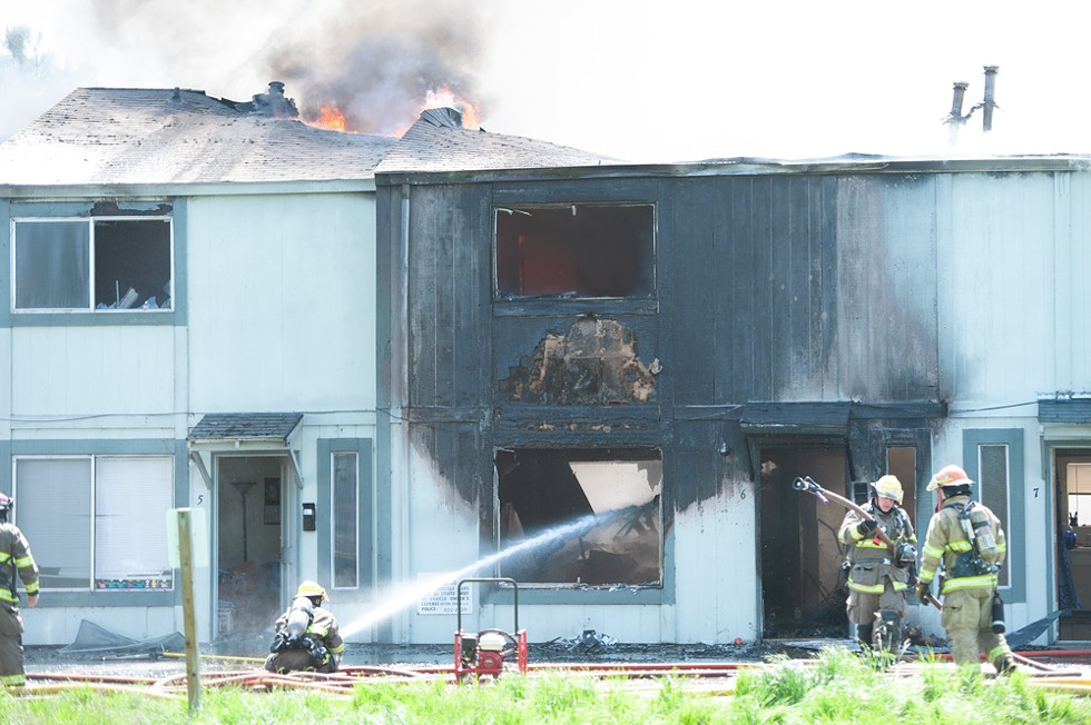 Arcata Fire crews battle a blaze in 2012.