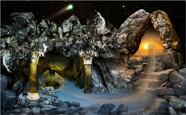 This Hyakutake fan art I made from my photo of the comet combined with other photographs of various places and objects I found on California's North Coast. While I shot the original comet on 35mm film, I photographed the rest of the parts digitally some years later. Created September, 2008. - DAVID WILSON