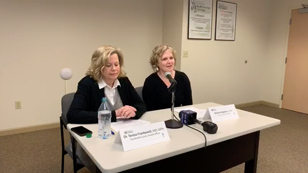 Humboldt County Health Officer Teresa Frankovich (left) and Public Health Director Michele Stephens discuss COVID-19 at a press conference this morning. - SCREENSHOT