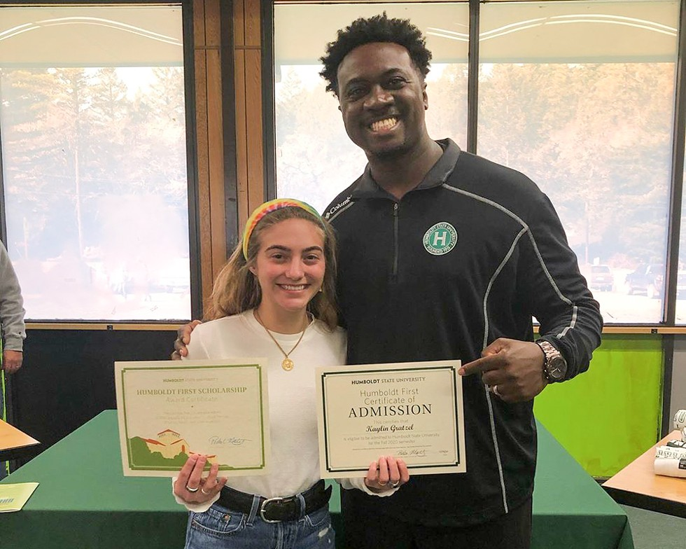 Jason Meriwether with Humboldt First Scholarship recipient Kaylin Gratzel from South Fork High School - SUBMITTED