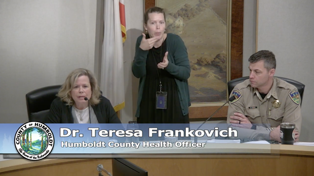 Public Health Officer Teresa Frankovich and Sheriff William Honsal discuss the shelter in place order taking effect at midnight. - SCREEN SHOT OF TODAY'S PRESS CONFERENCE