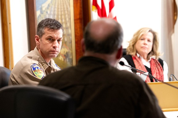 Sheriff William Honsal and Public Health Officer Teresa Frankovich listen as moderator Hank Sims asks a question. - COUNTY OF HUMBOLDT