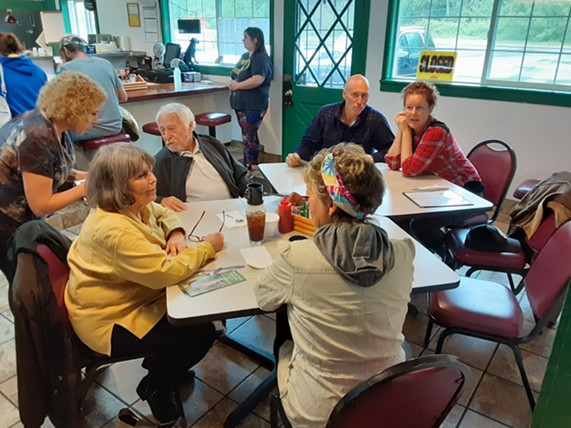 Customers at the Log Cabin Diner on Saturday. - FACEBOOK