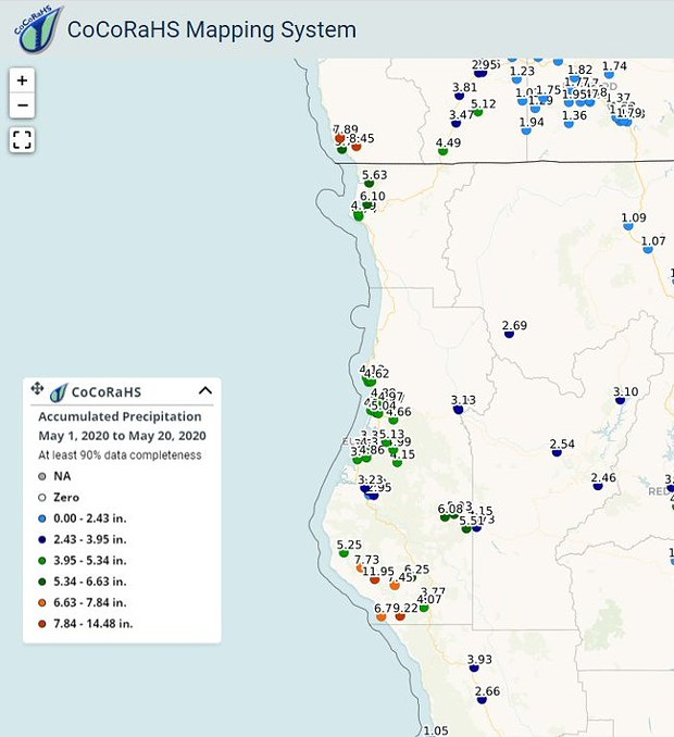 Humboldt County rainfall numbers for May - COMMUNITY COLLABORATIVE RAIN, HAIL AND SNOW NETWORK