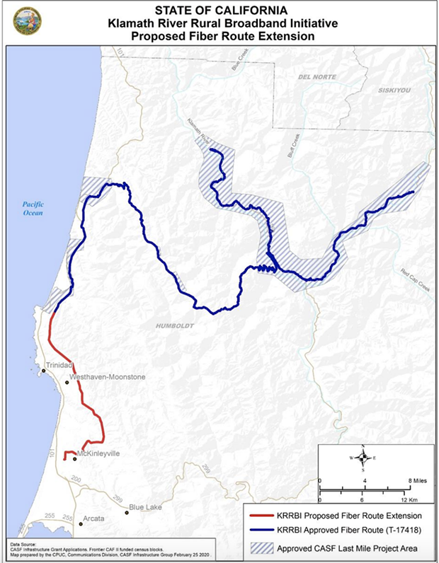 The Public Utilities Commission map of the proposed extension of broadband. - PUBLIC UTILITIES COMMISSION OF THE STATE OF CALIFORNIA