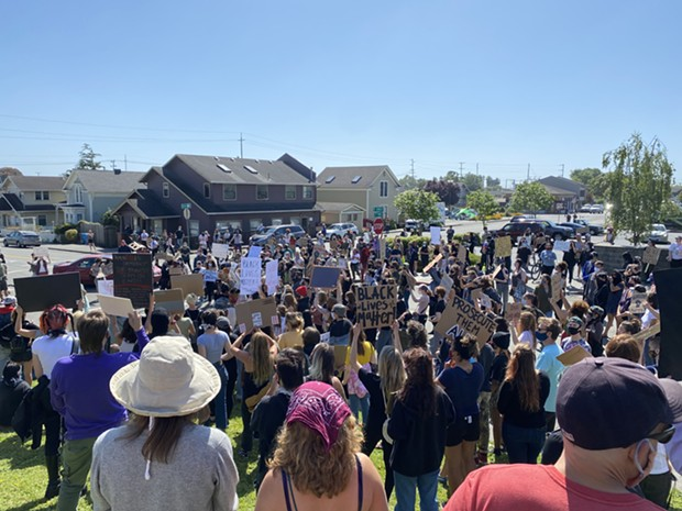 Protesters gathered in Arcata. - ZACH LATHOURIS