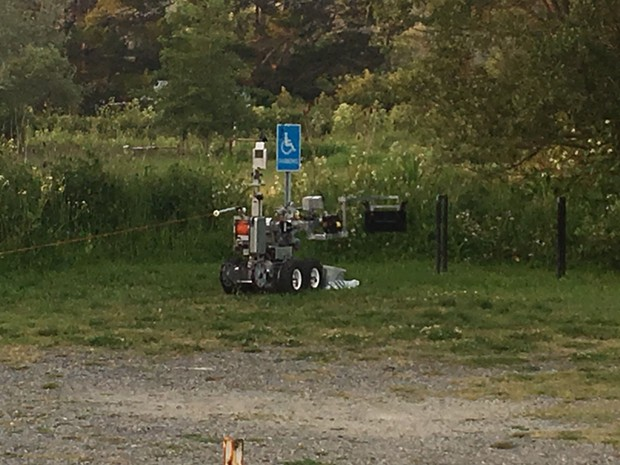 The EOD team robot in action. - HCSO