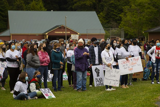 Demonstrators gather at Rohner Park to protest police brutality and racism on June 5. - THOMAS LAL