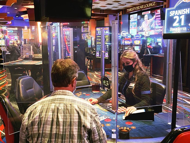 Plexiglass dividers between dealers and players at Bear River Casino Resort. - COURTESY OF BEAR RIVER CASINO