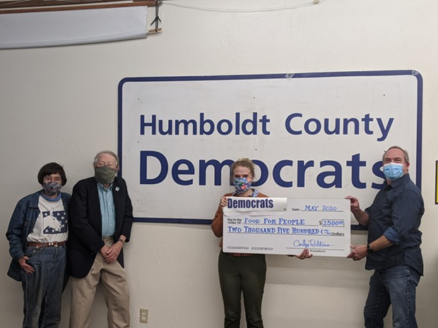 L-R: Democrats Pam and Bob Service; Carly Robbins, Development Director, Food for People; Dan Kelly, chair of the Humboldt County Democratic Central Committee