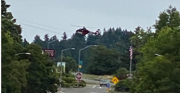 Air ambulance landing near Garberville about 2:35 p.m. - MICHELLE BUSHNELL