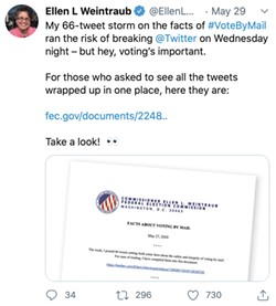 """Screenshot of a Tweet from Ellen L Weintraub: """"My 66-tweet storm on the facts of #VoteByMail ran the risk of breaking @Twitter on Wednesday night - but hey, voting's important. For those who asked to see all the tweets wrapped up in one place, here they are: fec.gov/documents/2248.."""""""