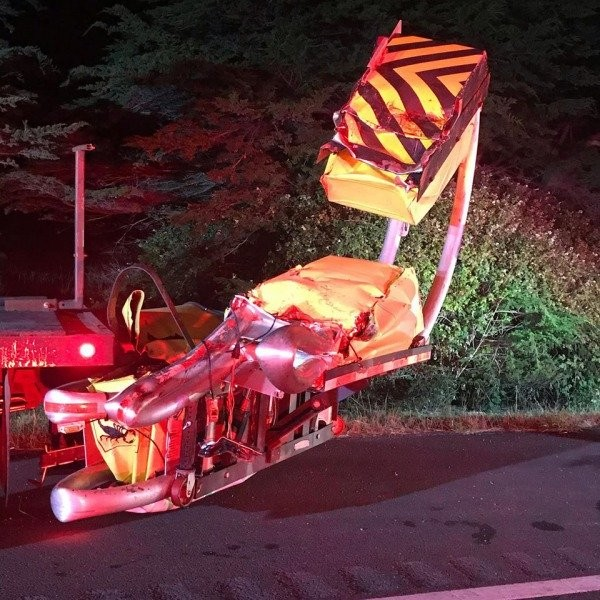 Caltrans' equipement damaged in last night's crash. - ARCATA FIRE PROTECTION DISTRICT