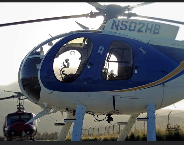 PG&E is conducting line inspections in the area using different types of helicopters. - PG&E