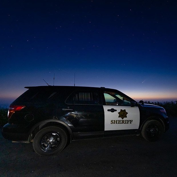 A Humboldt county sheriff's deputy captured the NEOWISE comet with his patrol car from Patrick's Point Dr in Trinidad. - SCOTT APONTE