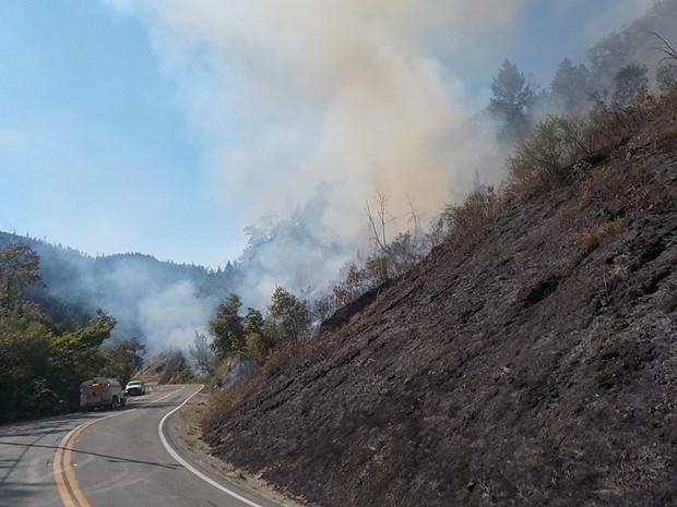 The fire burns near State Route 96 earlier last week. - CALTRANS