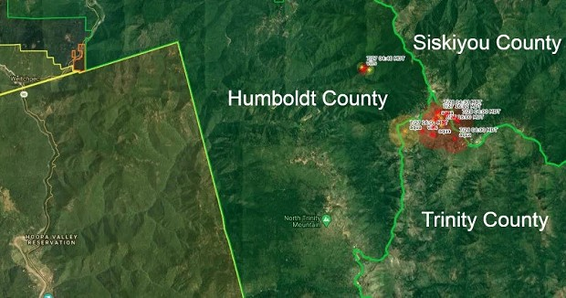 Using CalTopo and adding text, we created this map. The orange circles show heat spots that showed on satellite imagery. Note the red area entirely within Humboldt County is the Red Fire. The much larger Salmon Fire is at the intersection of the three counties. - KYM KEMP