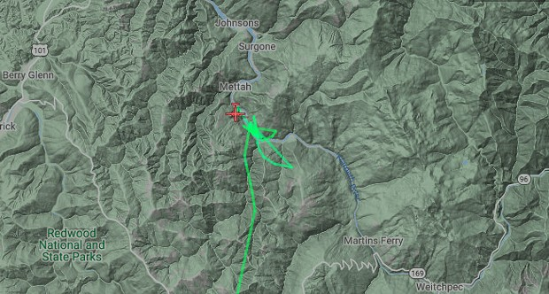 Screenshot of FlightRadar showing the air attack over the fire at about 2.45 p.m. - SCREENSHOT