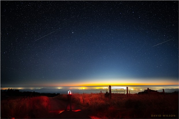 """Self Portrait with Perseid Meteors."" The lights of Eureka shine on the Pacific Coast beneath a pair of Perseid meteors in this composite of two images from a timelapse sequence taken during the Perseid meteor shower of 2020 from the hills of Humboldt County on Aug. 12. - PHOTO BY DAVID WILSON"