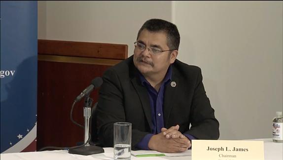 Yurok Tribal Chair Joseph James listens as North Coast Rep. Jared Huffman asks him a question. - SCREENSHOT FROM KEET'S LIVE BROADCAST