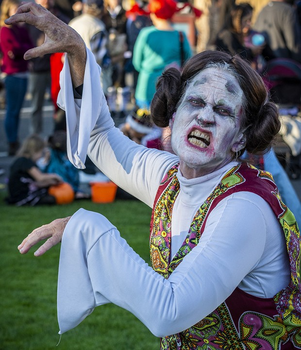 """A zombie Princess Leia from Star Wars (Leslie Quinn) joined a past zombie flash mob performance of """"Thriller."""" - PHOTO BY MARK LARSON"""