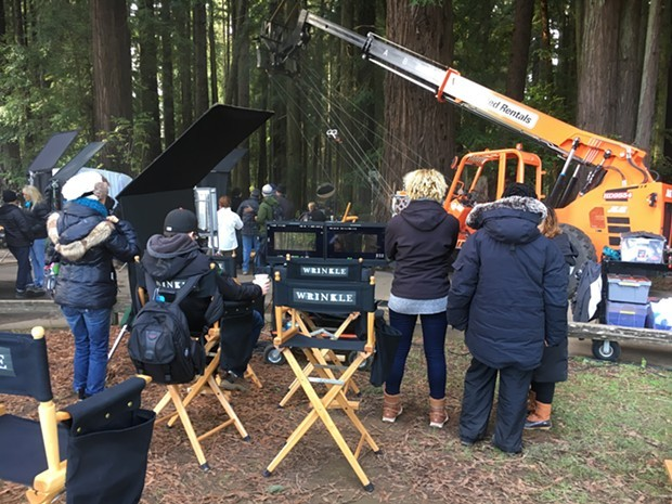 "The crew of ""A Wrinkle in Time"" filming at Sequoia Park in 2016. - FILE"