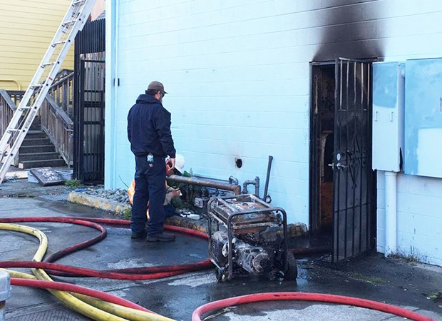 Responders from the nearby Arcata Plaza fire station quickly extinguished a generator fire at Big Blue Cafe on Oct. 27, 2019 – before Measure R's failure curtailed the station's operating abilty. - PHOTO BY RYAN HUTSON