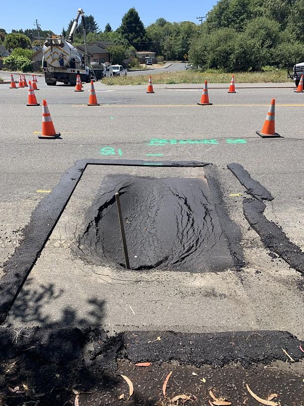 Sinkhole on Myrtle Avenue in Eureka. - CITY OF EUREKA