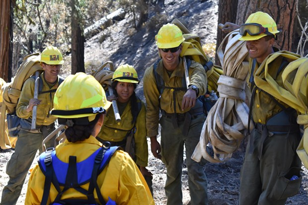 Marines talk with General Shea after pulling hose near Pony Buck Peak. - AUGUST COMPLEX INCIWEB