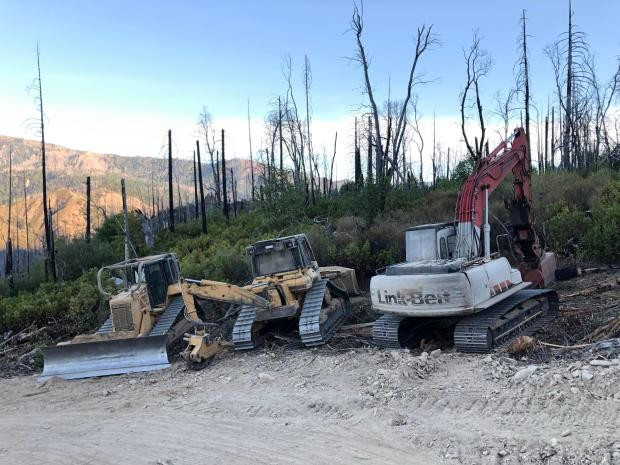 Heavy equipment staging on the August Complex. - AUGUST COMPLEX INCIWEB
