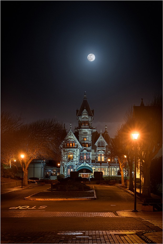 The Carson Mansion beneath the Snow Moon of February, 2020. Eureka, Humboldt County, California. - PHOTO BY DAVID WILSON
