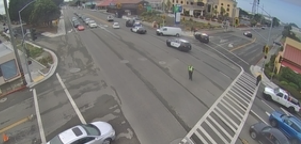 Traffic at Wabash and Broadway is impacted by the crash. - CALTRANS TRAFFIC CAM