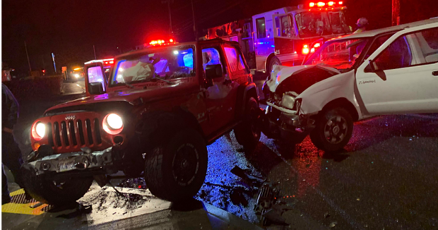 The crash scene in McKinleyville at Sutter Road. - SUBMITTED