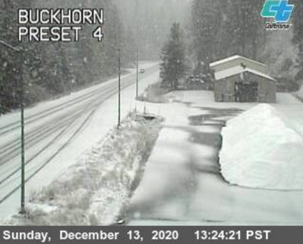 Snow on Buckhorn Summit [Photo by Caltrans traffic cam]