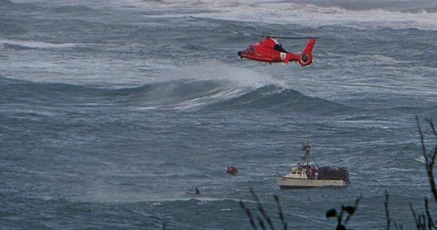 A U.S. Coast Guard helicopter near what appears to be a crab boat off Patricks Point this afternoon. - GARTH EPLING