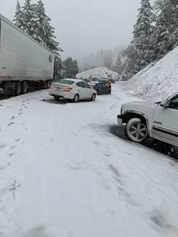 The scene on U.S. Highway 101 near Laytonville yesterday. - CALTRANS