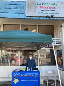 William Dirks,Visión y Compromiso community promotor, tabling in front of La Pasadita Market in Eureka. - SUBMITTED